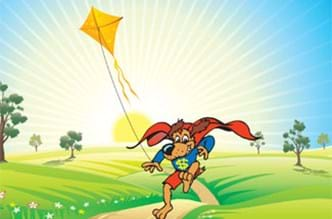 Dog with a cape flying a kite.